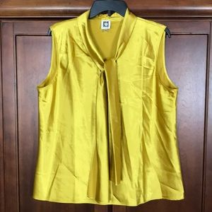 Anne Klein Yellow Sleeveless Neck Tie Top XL
